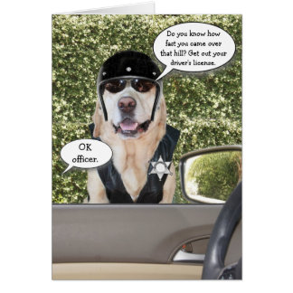 Customizable Funny Dog Motorcycle Cop Birthday Card