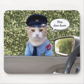 Customizable Funny Officer Cat Mouse Mat