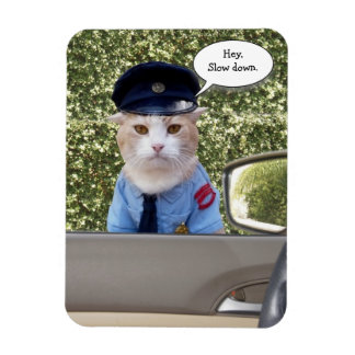 Customizable Funny Officer Cat Rectangular Photo Magnet