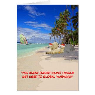 Customizable funny Polar Bear Christmas Greeting Card