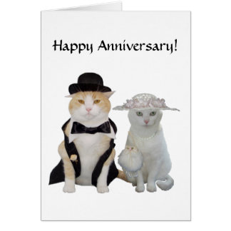 Customizable Funny,Pretty Cats/Kitties Anniversary Greeting Card