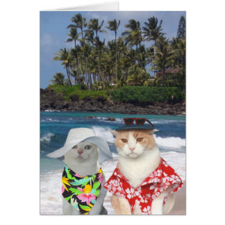 Customizable Funny Surfer Cats/Kitties Anniversary Greeting Card