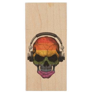Customizable Gay Pride Rainbow Dj Skull Wood USB 2.0 Flash Drive