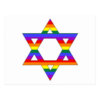 Customizable Gay Pride Rainbow Star of David Postcard