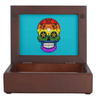 Customizable Gay Pride Rainbow Sugar Skull Keepsake Box