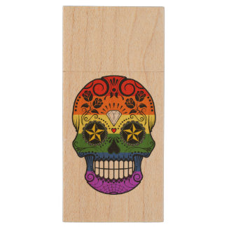 Customizable Gay Pride Rainbow Sugar Skull Wood USB 2.0 Flash Drive