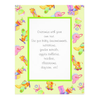Customizable gender neutral baby stationary full color flyer