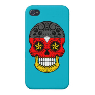 Customizable German Flag Sugar Skull with Roses Case For iPhone 4