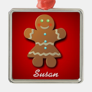 Customizable Gingerbread Cookie Silver-Colored Square Decoration