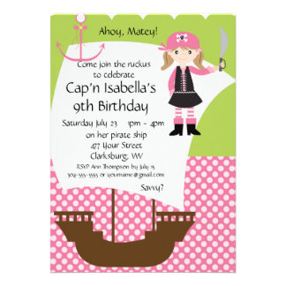 Customizable Girl Pirate Ship Birthday Party Personalized Invitation