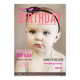 "Customizable Girl's Birthday Invite Magazine Cover 5"" X 7"" Invitation Card"