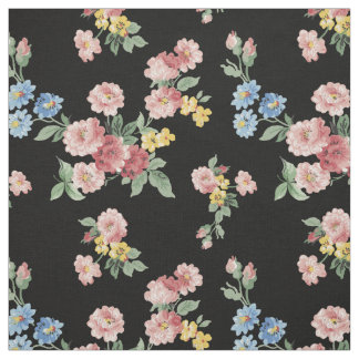 Customizable Girly Pastel Floral, Black Background Fabric