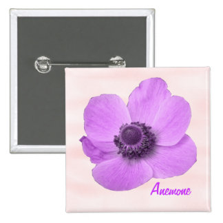 Customizable Girly Pink Anemone Button