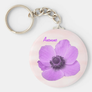 Customizable Girly Pink Anemone Keychain