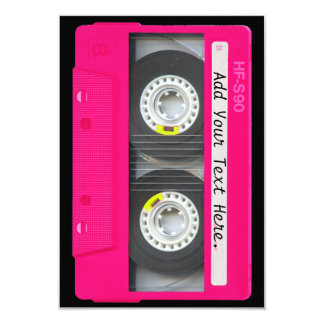 Customizable Girly Pink Cassette Tape Card