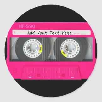 Customizable Girly Pink Cassette Tape Classic Round Sticker