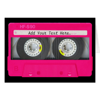 Customizable Girly Pink Cassette Tape Note Card