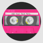 Customizable Girly Pink Cassette Tape Round Sticker