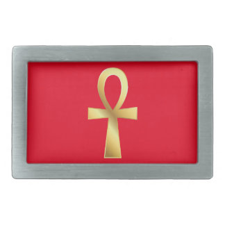 Customizable Gold and Red Ankh Belt Buckle
