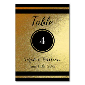 Customizable Gold/Black WEDDING TABLE NUMBER CARD Table Cards