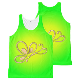 Customizable Gold Butterfly Profile Green Sunset All-Over Print Tank Top