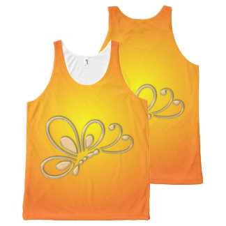Customizable Gold Butterfly Profile Orange Sunset All-Over Print Tank Top