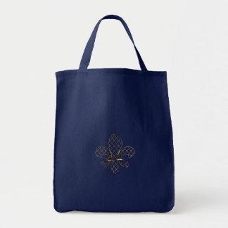 Customizable Gold Fleur de Lys Canvas Tote Grocery Tote Bag