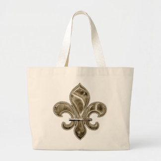 Customizable Gold Fleur de Lys Canvas Tote Jumbo Tote Bag