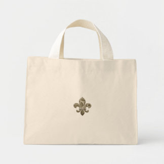 Customizable Gold Fleur de Lys Canvas Tote Mini Tote Bag