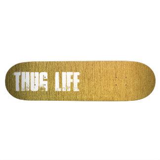 Customizable golden skateboard deck with text