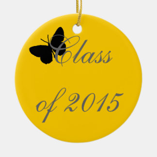 Customizable Graduation - Black and Gold Butterfly Christmas Tree Ornaments