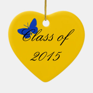 Customizable Graduation - Blue and Gold Butterfly Christmas Tree Ornament