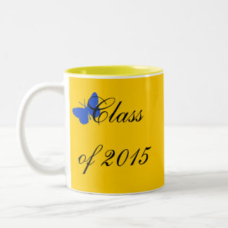 Customizable Graduation - Blue and Gold Butterfly Two-Tone Mug