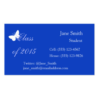Customizable Graduation - Blue and White Butterfly Pack Of Standard Business Cards
