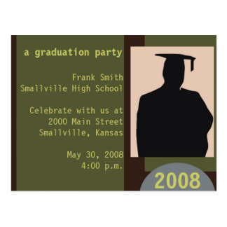 Customizable Graduation Party Postcard