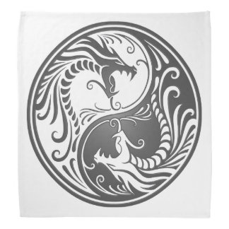 Customizable Gray Yin Yang Dragons Head Kerchiefs