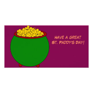 Customizable great St. Paddy's Day Pot Of Gold Photo Card