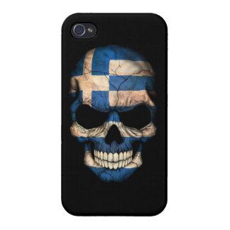 Customizable Greek Flag Skull iPhone 4 Cases