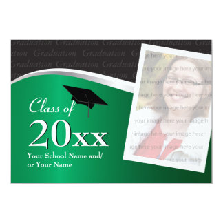 Customizable Green and Black Graduation Invitation