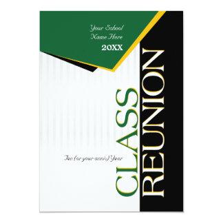 Customizable Green and Gold Class Reunion 13 Cm X 18 Cm Invitation Card