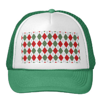 Customizable Green and Red Argyle Cap