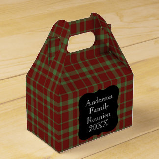 Customizable Green and Red Plaid Family Reunion Wedding Favour Boxes