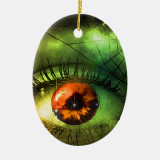 customizable Green Halloween Nightmare Ceramic Oval Decoration