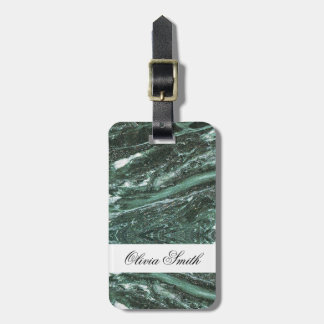 Customizable Green Marble Texture Luggage Tag