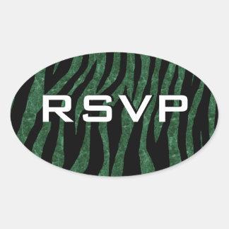 Customizable Green Marble Zebra Oval Sticker