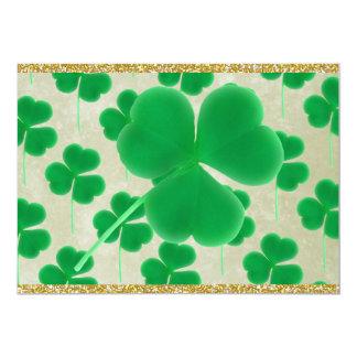 Customizable Green Shamrocks Gold Glitter 5x7 Paper Invitation Card