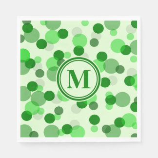Customizable Green Spots Monogram Disposable Serviette