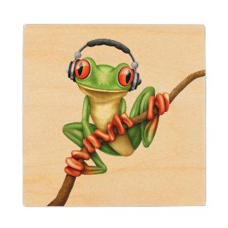 Customizable Green Tree Frog Dj with Headphones Wood Coaster