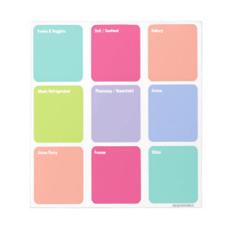 Customizable Grocery Shopping List Note Pad