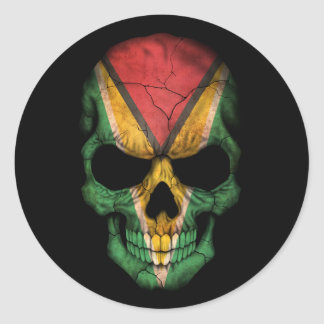 Customizable Guyanese Flag Skull Classic Round Sticker